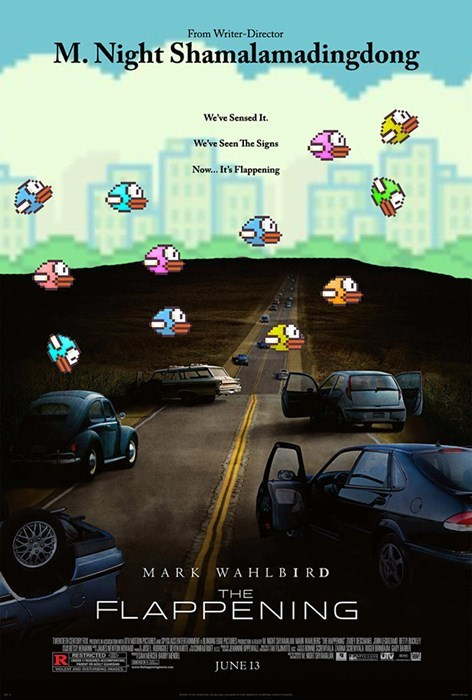m night shyamalan flappy bird movie posters the happening the flappening - 8055770624