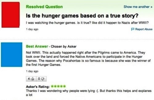Funny Yahoo Answers post asking if Hunger Games was true.