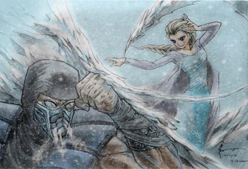disney Mortal Kombat Fan Art frozen video games - 8056000768