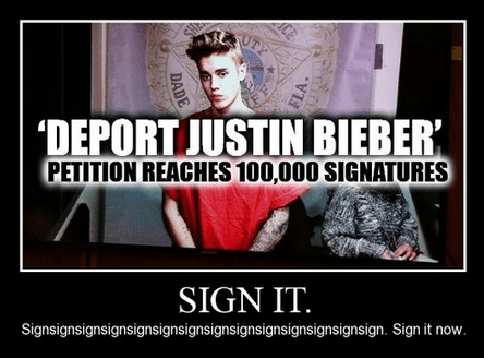 deportation petition funny justin bieber - 8056126720