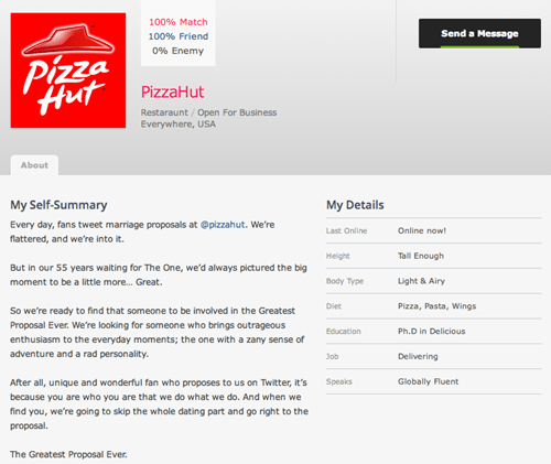So Pizza Hut Has an OKCupid Profile...