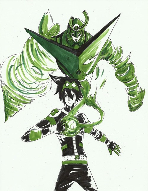 crossover,anime,Fan Art,Green lantern,Gurren Lagann
