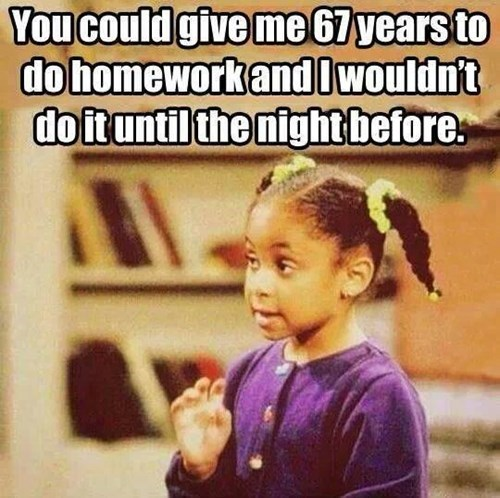 homework,the cosby show,procrastination