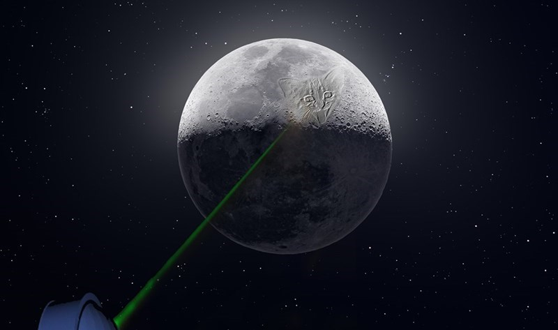 april fools joke about putting laser of cat on the moon