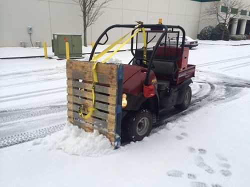 monday thru friday,makeshift,snow,work,pallet,snow plow