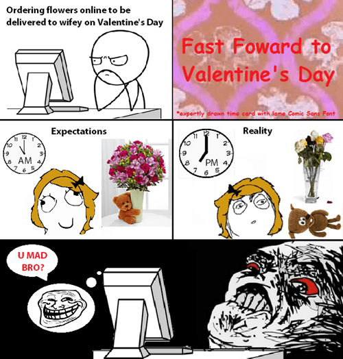 rage trollface expectation vs. reality flowers Valentines day