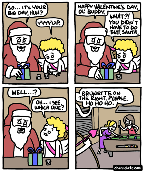 comics,cupid,santa,web comics,Valentines day