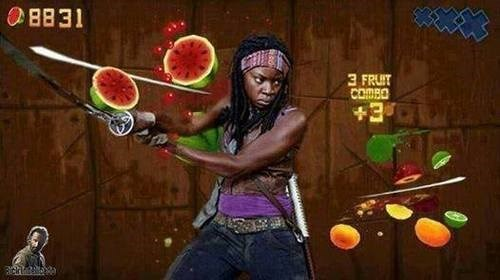 michonne,fruit ninja,The Walking Dead