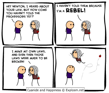isaac newton cyanide and happiness comics science funny - 8063115776