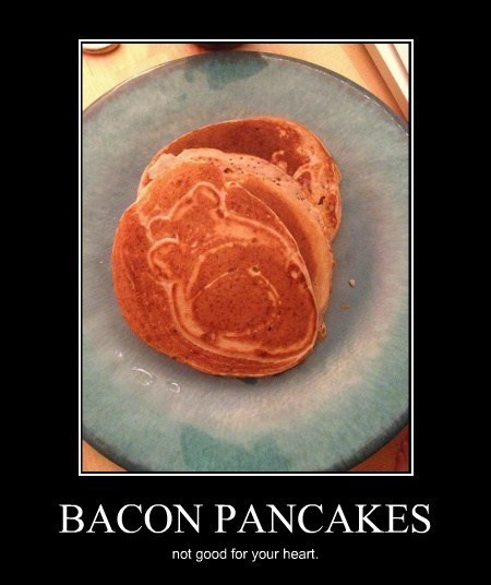 healthy,heart,pancakes,funny,bacon