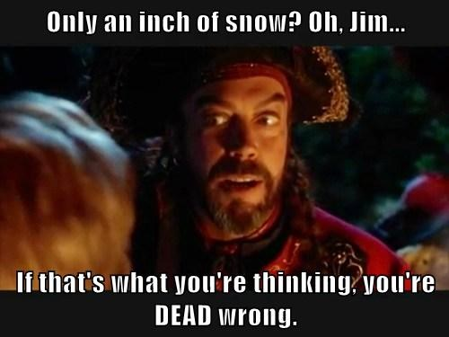 Only an inch of snow? Oh, Jim...  If that's what you're thinking, you're DEAD wrong.