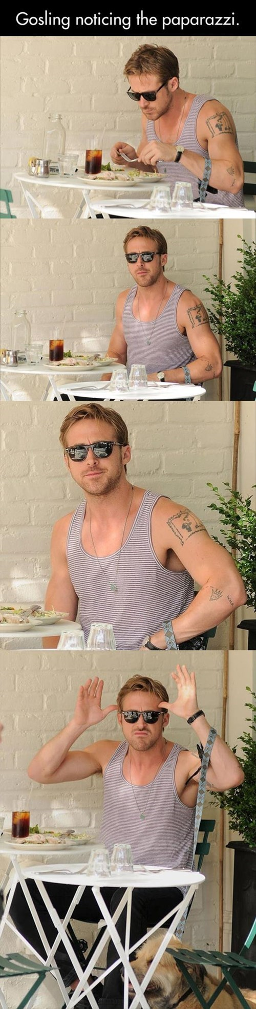 Ryan Gosling eating funny paparazzi - 8066970880