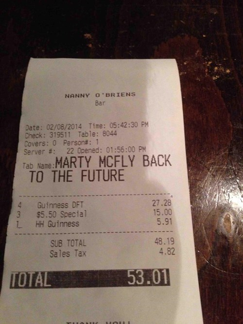 bar puffy poorly dressed vest receipt marty mcfly g rated