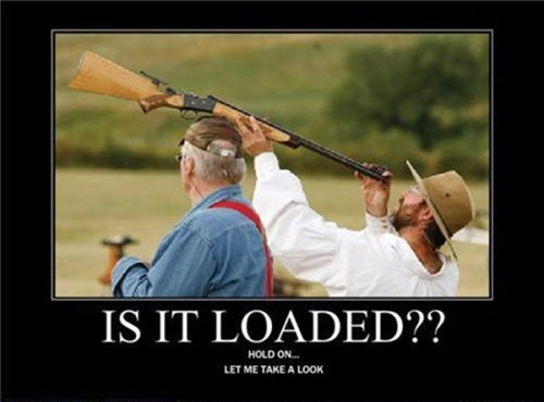 guns loaded bad idea idiots funny - 8068616960