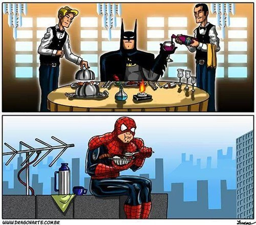 lunch,batman,Spider-Man