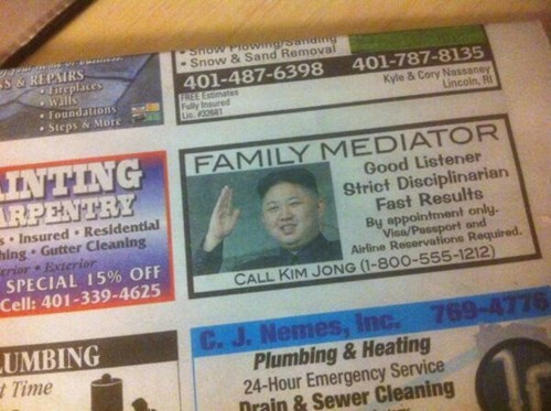 kim jong-un,classified ads,family mediator