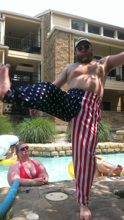 American Flag poorly dressed pants swimming pool - 8070155776