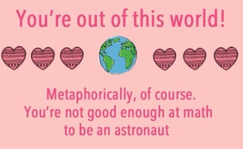 cards metaphor astronaut math funny Valentines day