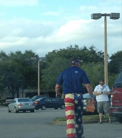 American Flag,visor,poorly dressed,pants,matching