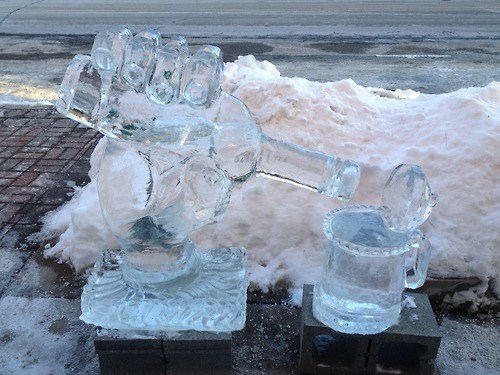beer,ice sculpture,funny