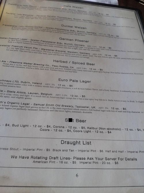 beer menu crap honesty funny after 12 - 8070579456