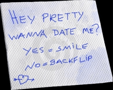 bar napkin,note,backflip,funny,g rated,dating