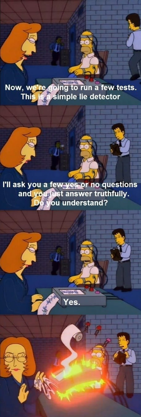 homer simpson,tests,the simpsons,lie detector