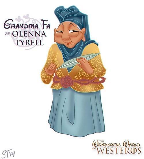 "Cartoon - GRANDMA FA as OLENNA TYRELL WONDERFUL ORLD ""WESTEROS THE STH"
