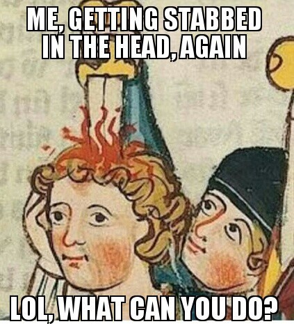 medieval art,art,stabbed in the head,derp