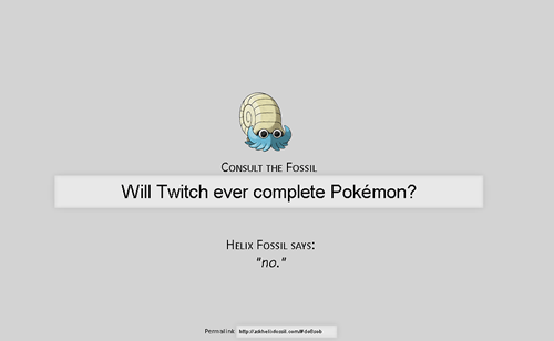 twitch plays pokemon,ask the helix fossil,list,helix fossil
