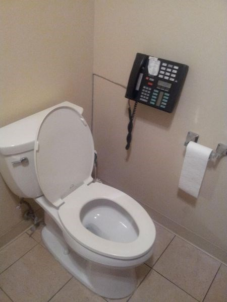 bathroom,monday thru friday,phone,toilet,work