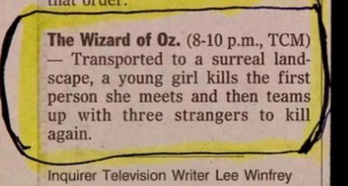 newspaper,funny,the wizard of oz,reviews