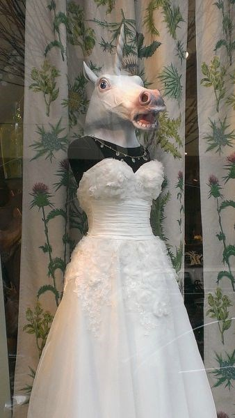 mask,unicorn,poorly dressed,wedding dress