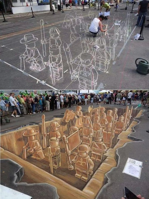 chalk art lego perspective illusion Street Art - 8074315264