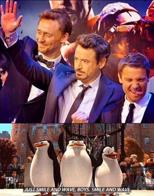 tom hiddleston,robert downey jr,madagascar,Jeremy renner,avengers