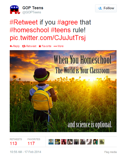 evolution gopteens creationism tweets homeschooling GOP science - 8075616768