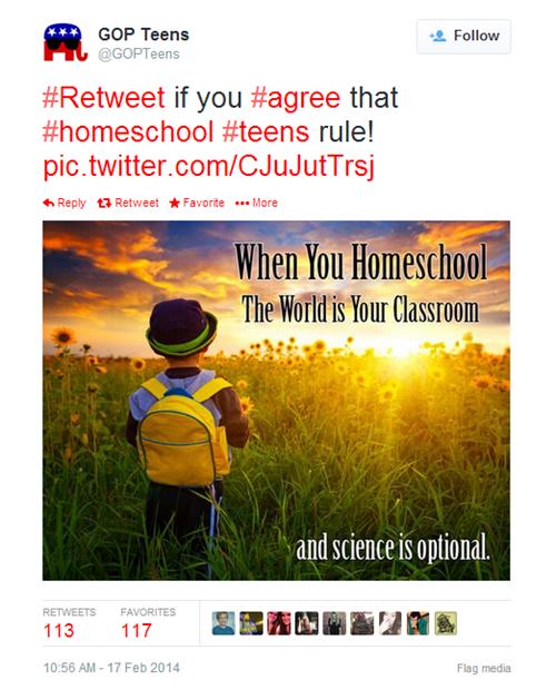 evolution gopteens creationism tweets homeschooling GOP science - 8075616768
