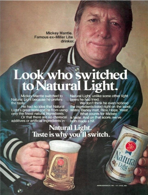 beer,baseball,ads,mickey mantle,funny,vintage