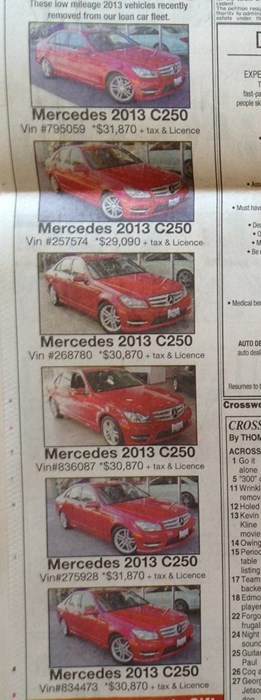 cars for sale newspaper