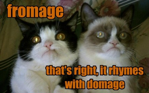 that's right, it rhymes with domage fromage