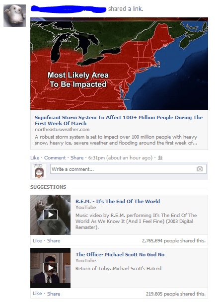 Even Facebook is getting a little sick of the winter weather...