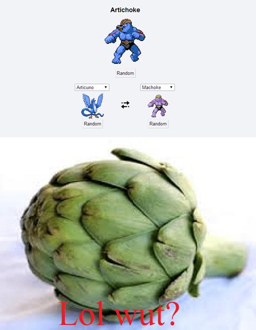artichoke,machoke,pokemon fusion,articuno