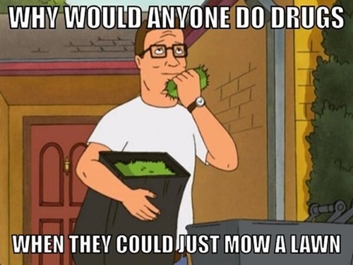 hank hill,King of the hill,mowing the lawn