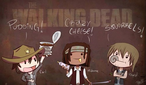 carl grimes daryl dixon Fan Art michonne The Walking Dead - 8081914624