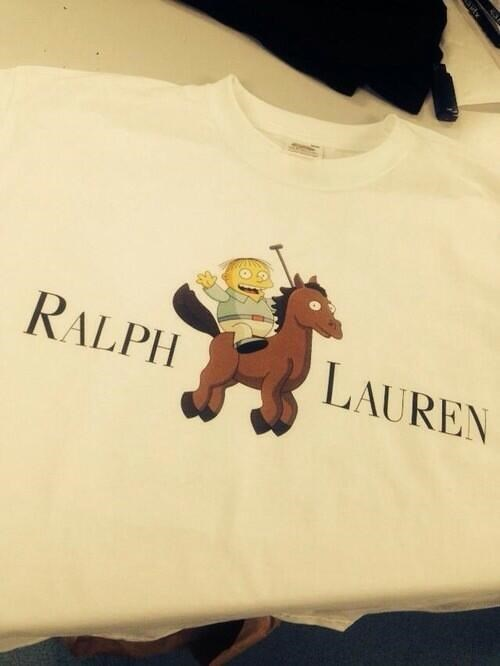 poorly dressed,Ralph Wiggum,t shirts,Ralph Lauren,the simpsons,g rated