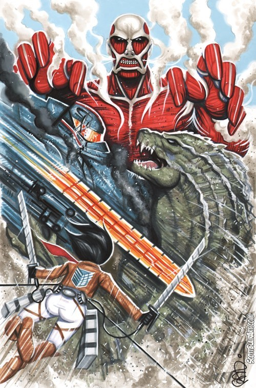 crossover,Fan Art,godzilla,pacific rim,attack on titan