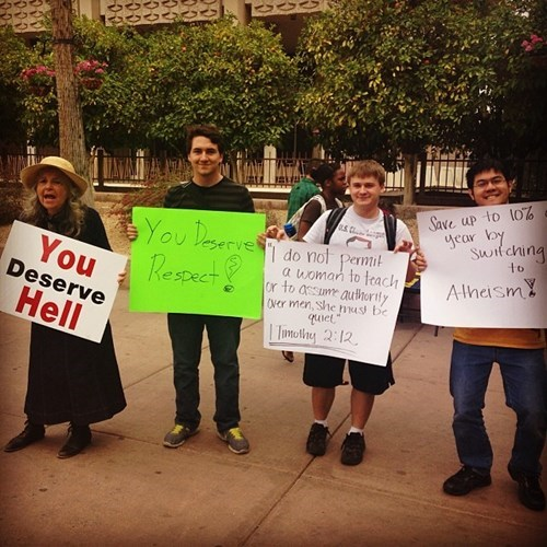 crazy Christians signs protesting picketing - 8083834624