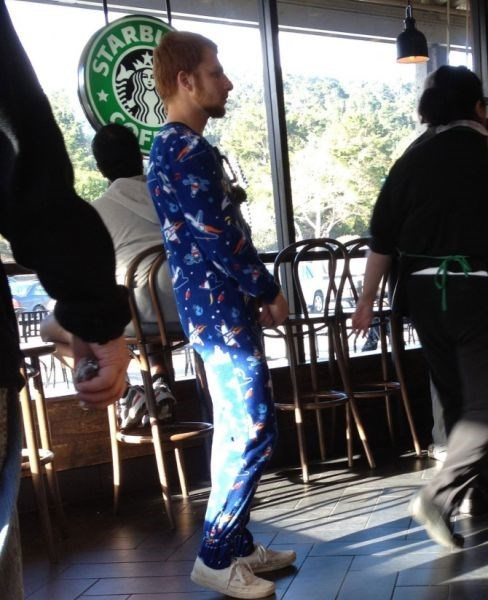 onesie poorly dressed Starbucks pajamas g rated