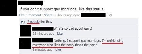 like my status,LGBT rights,gay marriage,defriending