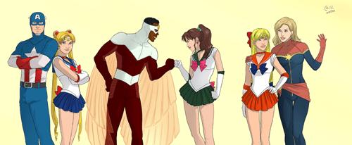saulor moon marvel anime Fan Art superheroes - 8087958528